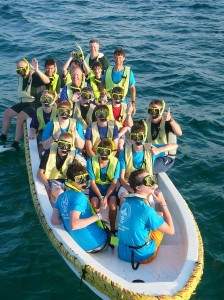 Our 24 foot panga filled with a great crew ready to go snorkeling.