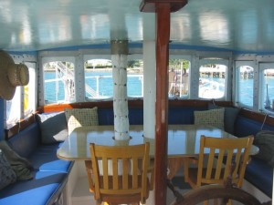 A view from the pilothouse. You get a panoramic view around the table that will seat 12 people.