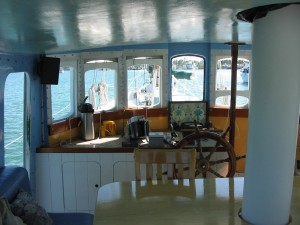 Looking forward in the pilothouse